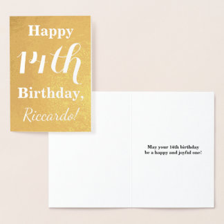 Basic Gold Foil 14th Birthday + Custom Name Foil Card