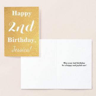 Basic Gold Foil 2nd Birthday + Custom Name Foil Card