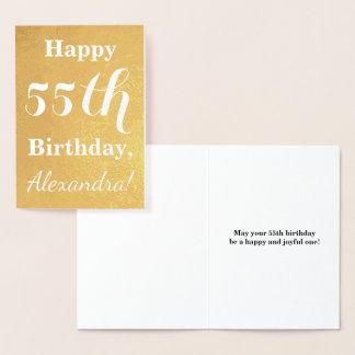 Basic Gold Foil 55th Birthday + Custom Name Foil Card