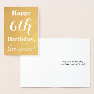 Basic Gold Foil 6th Birthday + Custom Name Foil Card