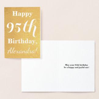 Basic Gold Foil 95th Birthday + Custom Name Foil Card