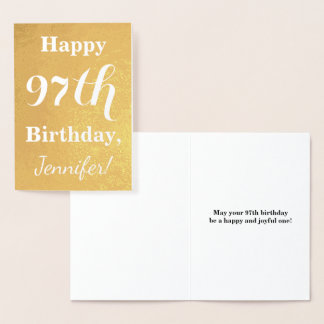 "Basic Gold Foil ""HAPPY 97th BIRTHDAY""; Custom Name Foil Card"