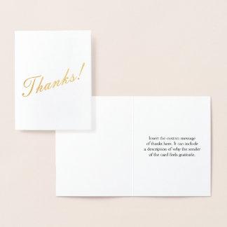 """Basic Gold Foil """"Thanks!"""" Card"""