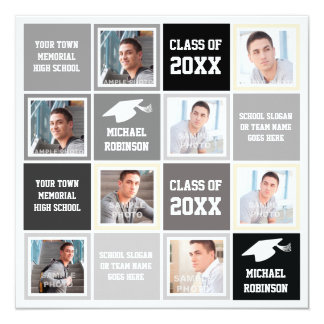 Basic Gray and Black Graduation Party Photo Frame Card