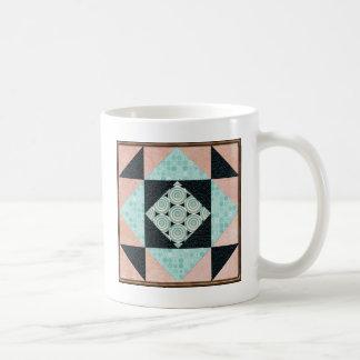 Basic Hourglass Patch Turquoise & Peach Coffee Mug