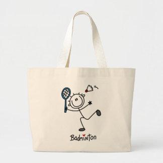 Basic Male Stick Figure Badminton Tote Bags