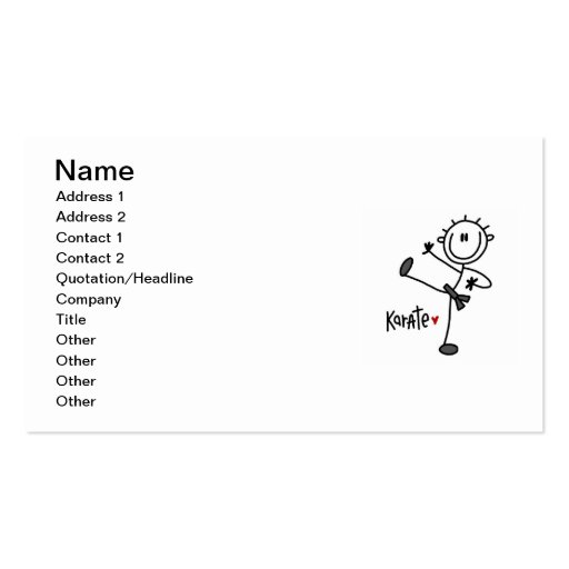 Basic Male Stick Figure Karate T-shirts and Gifts Business Card
