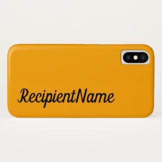 Basic, Minimal, Orange Background and Black Name iPhone X Case