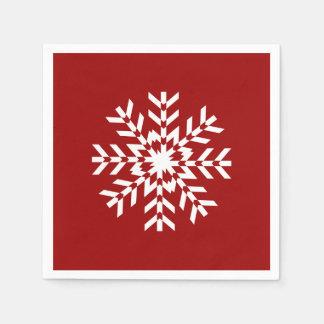 Basic Red and White Snowflake Ski Season Disposable Napkins