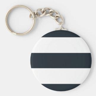 Basic Round Button Keychain - Black & White Stripe