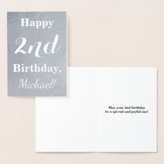 Basic Silver Foil 2nd Birthday + Custom Name Foil Card