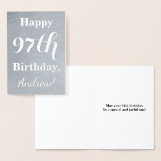 "Basic Silver Foil ""HAPPY 97th BIRTHDAY"" + Name Foil Card"
