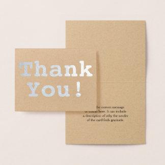 "Basic Silver Foil ""Thank You!"" Card"