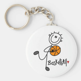 Basic Stick Figure Basketball T-shirts and Gifts Basic Round Button Key Ring