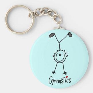 Basic Stick Figure Gymnastics Tshirts and Gifts Basic Round Button Key Ring