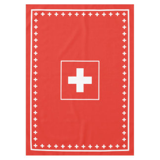 Basic Swiss Flag Red and White Switzerland Day Tablecloth