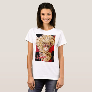 Basic t-shirt featuring a golden Venetian mask