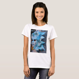 Basic t-shirt featuring a silver-blue Venetian mas