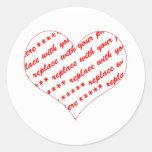 Basic White Heart Shaped Photo Frame Round Stickers