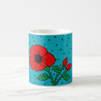 basic white mug with bright poppy design