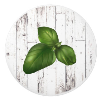 Basil Leaf White Wood Rustic Farmhouse Kitchen Ceramic Knob