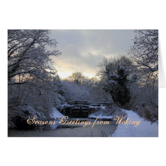 Basingstoke Canal in Winter snow Christmas card