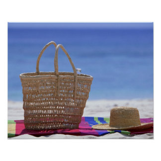Basket and Straw Hat Poster