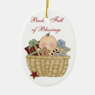 Basket Full of Blessings Ceramic Ornament