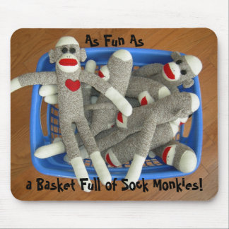 Basket Full of Sock Monkies Mousepad
