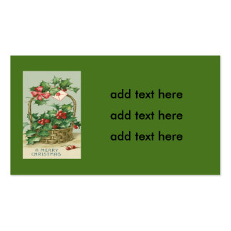 Basket Holly Winterberry Red Ribbon Pack Of Standard Business Cards