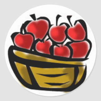 Basket of Apples Classic Round Sticker