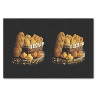 BASKET OF BREAD/BLACK BACKGROUND TISSUE PAPER