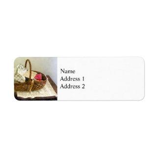 Basket of Cloth and Measuring Tape Return Address Label