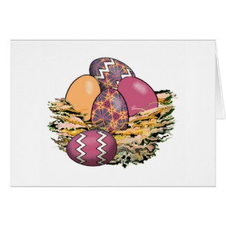 Basket of Colourful Easter Eggs 07 Card