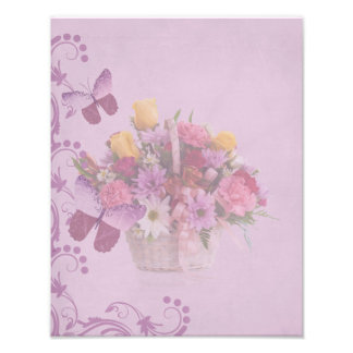 Basket of Flowers and Butterflies Photographic Print