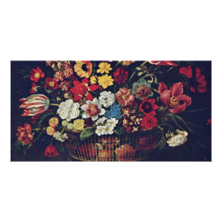 Basket Of Flowers By Linard Jaques (Best Quality) Photo Card