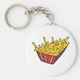 basket of french fries key chains