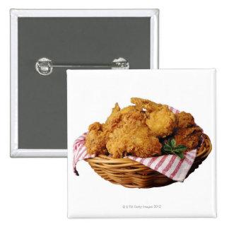 Basket of fried chicken 15 cm square badge