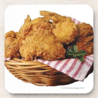 Basket of fried chicken beverage coasters