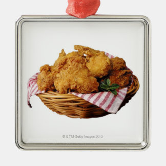 Basket of fried chicken Silver-Colored square decoration