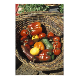 Basket of fruits and vegetables on the place photograph