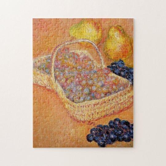 Basket of Grapes Quinces & Pears Monet Fine Art Jigsaw Puzzle