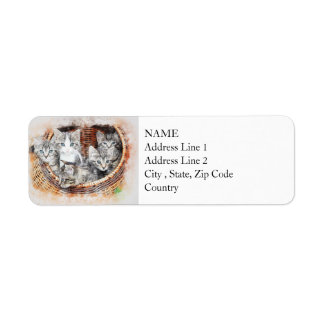 Basket of Kittens | Abstract | Watercolor Return Address Label
