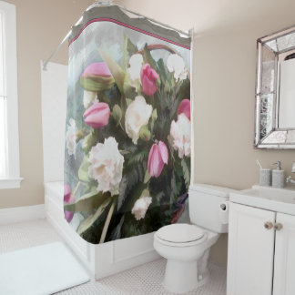 Basket of Pink Tulips and White Carnations Shower Curtain