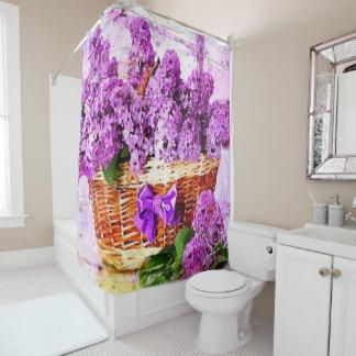 Basket of Purple Flowers Shower Curtain