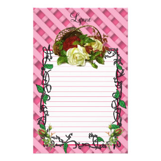 Basket of Red and White Roses Stationery
