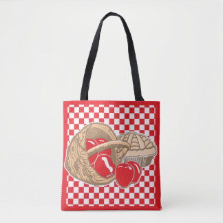 Basket of Red Apples & Pie Checkered Tote Bag