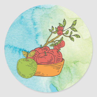 Basket of Red Apples Round Sticker