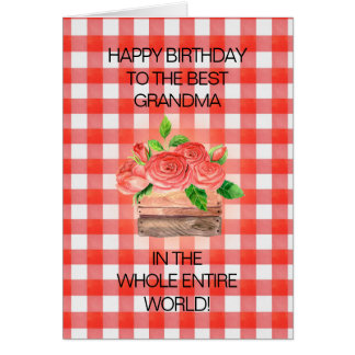 Basket of Red Roses on Red Checkered Grandma Card