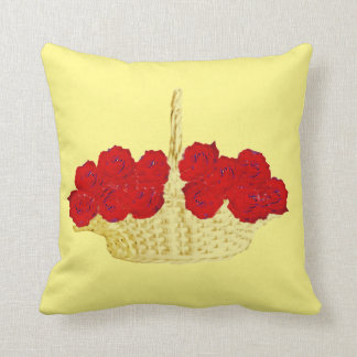 Basket of Red Roses Throw Cushions